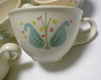 Metlox Vernonware Poppytrail Transitional Year-Round Shape Blueberry Hill Pattern - Set of 4 Cups