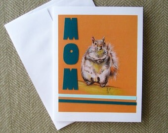 Cute Mother's day card/ squirrel card/ mom birthday card/ blank card/ card for mom/ unique mother's day card/ pastel drawing/ retro inspired