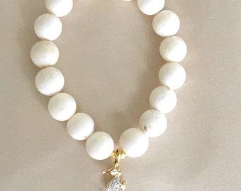 14kt gold Diamond Seahorse White Coral Bracelet