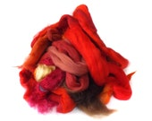 Red fibre bits for Spinning - Carding Fiber - Merino wool -  Scrap Fibre - 100/3.5oz - BATT FOOD