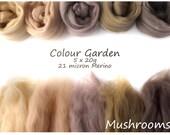 Neutral Merino Shade sets - 21 micron Merino wool - 100g - 3.5oz - 5 x 20g - Colour Garden - MUSHROOMS