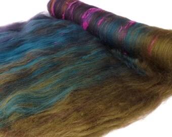 Spinning Batts - 21 micron Merino - Tussah Silk - Noil - Textured Batts - 100g - 3.5oz - INCENSE