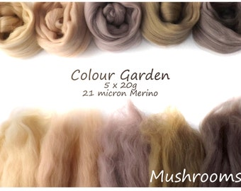 Neutral Merino Shade sets - 21 micron Merino wool - 100g - 3.5oz - 5 x 20g - Colour Garden - MUSHROOMS