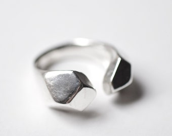 Geometric Faceted Ring - Silver Open Ring - Facet Ring Silver - Rock Ring Silver - Faceted Geometrical Jewelry Open Geometric Ring kornelia