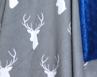 Stag Baby Blanket-Deer Blanket-Woodland Blanket-Baby-Baby Boy-Minky Blanket