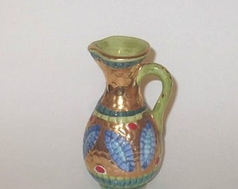 SUMMER SALE Italian Vintage Decorative Pitcher, Vase, Hand Decorated with Pure Gold