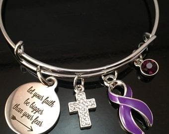 Purple Ribbon Charm Bracelet / Faith Fear / Pancreatic Cancer, Lupus, Cystic Fibrosis, Fibromyalgia, Spoonie, Domestic Violence, Crohn's