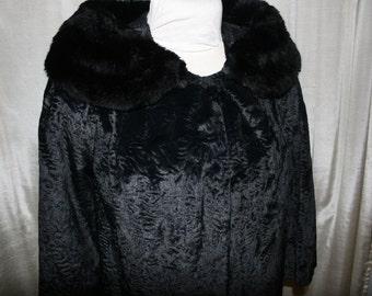 Vintage Faux Fur Coat/ Black Vintage Short Jacket/ Retro Faux Fur
