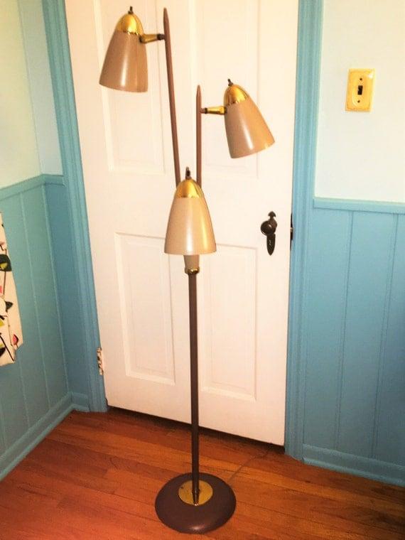 Three Light Bullet Shade Floor Lamp Brass And Metal Mid