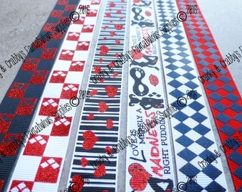 "7/8"" Harley Quinn Inspired  - US Designer Printed Ribbon - 1yd, 3yd or 5 yd - Harlequin, Hearts, Puddin"