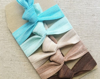 Coastal- Set of 5 Elastic Hair Ties