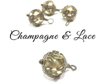 Champagne & Lace Pearl Hand Wrapped Drop Bead Charms, Crystal Pearls and Lace, Wire Wrapped Dangles, Sold in Pairs, Sets of Two