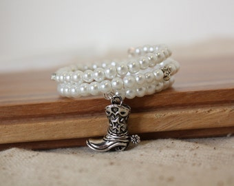 Cowgirl Flower Girl Bracelet - Barn Wedding - Rustic Wedding Gift - Cowboy Boot - Charm Bracelet - Flower Girl Gift - Lydia