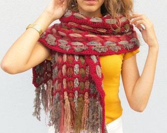 Crochet Woven Boho Scarf for Women Weaving Handmade Fringed Scarf