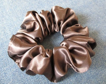 clearance sale 15% off, brown satin ponytail holder, scrunchie for long hair, 90s scrunchie, hair wrap, hair elastic is 2 3/8 '' (6 cm) wide