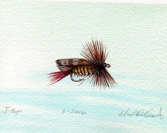 Fishing Art - Original Art - Watercolor - Hopper - Dry Fly - Made in Michigan - Michigan Artist - Fly Fishing - Black Frame - Gift for Him