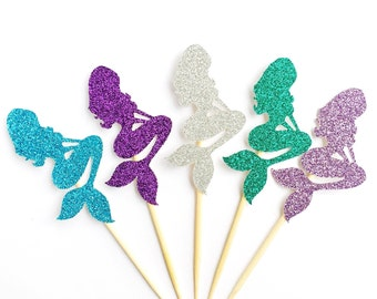 Glitter Mermaid Cupcake Toppers - Under the Sea Cupcake Toppers - Set of 12 - Mermaid Party Decoration // Mermaid Birthday Party Supplies