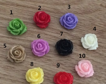 40pcs 10mm  Mixed color resin flower