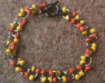 Seed bead link bracelet