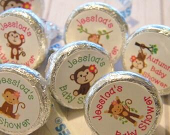 Monkey Baby Shower Favors - Personalized Monkey Baby Shower Favors - Girl Monkey Birthday Favors - Baby Monkey Hershey Kiss Stickers