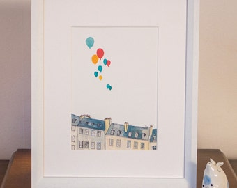 Buildings & Balloons - A5 Print (unframed)