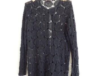 Vintage Oversized Crochet Cardigan, 90s Crochet Sweater Cardigan, Black Knit Cardigan, Long Cardigan, Boho Cardigan