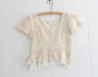 1900s Victorian Lace Blouse, Edwardian Lace Blouse, Ivory Lace Blouse