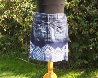 Jean Skirt, Upcycled Jean Skirt, Handmade OOAK Skirt, Cottage Chic Skirt, Modest Skirt, Knee length skirt, Distressed Boho Skirt, Size 11