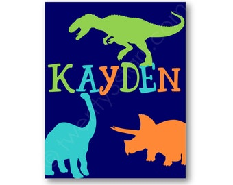 Dinosaur Name Canvas or Art Print, Choose The Colors, Nursery or Boy's room, T-Rex, Triceratops and Brontosaurus, Dino Wall Art