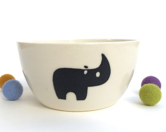 Kids Handmade Ceramic Bowl - Rhino