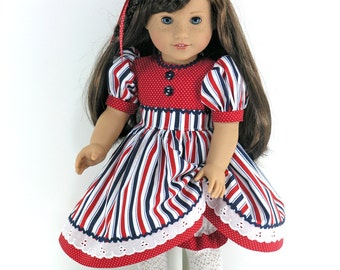 Doll Clothes Fit American Girl - Patriotic Doll Dress, Bloomers, Headband - Red, White, Blue - Shoes, Socks Option