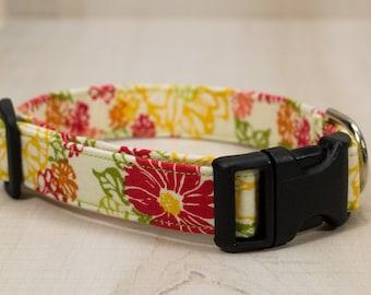 Dog Collar, Yellow/Pink/Green Flowers Dog Collar