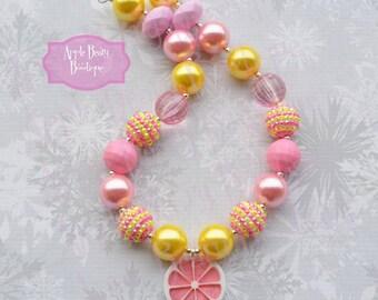 Pink Lemonade Necklace Lemonade Stand Necklace Pink Lemonade chunky necklace Pink Lemonade bubblegum necklace lemonade stand photo prop