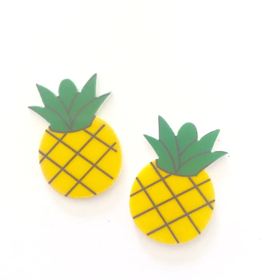 Laser Cut Supplies-2 Piece.20 mm Pineapple Charms-Laser Cut Acrylic-Jewelry Supplies-Little Laser Lab.Online Laser Cutting Australia