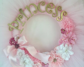 Gorgeous hand decorated tulle  princess wreath