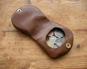 The 'Joey' Coin Purse. Hand made in real leather. Loose change purse, change wallet, parking change purse, pocket money purse