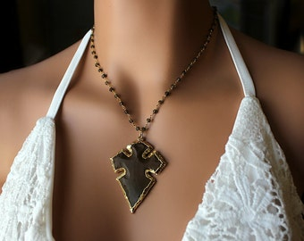Large Brown Agate Cross Pendant Necklace, Huge Brown Pendant, Smokey Quartz Rosary Necklace, 14k Gold Filled, OOAK, Statement Necklace