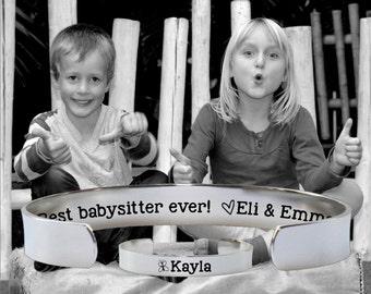 Babysitter Gift | Gift for Babysitter | Nanny Gift | Best babysitter ever | Custom Personalized Bracelet Korena Loves