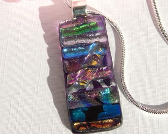Glass Pendant - Fused Glass Jewelry - Mixed Dichroic Glass Multicolor Oblong Necklace