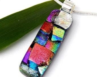 Patchwork Glass Pendant - Fused Glass Necklace - Dichroic Art Glass Jewelry