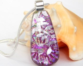Pink and Silver Dichroic Glass Pendant - Fused Glass Jewelry - Sparkly Art Glass Necklace