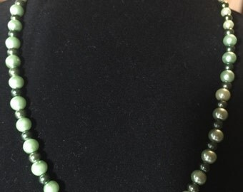 Shades of Green Pearl Beaded Necklace