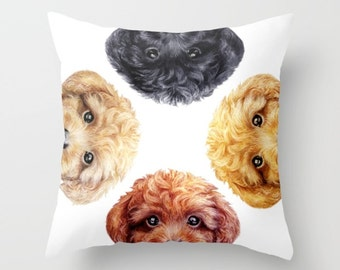 Toy poodle, Pillow cover  Original painting print design, home decor ornament and decoration housewares