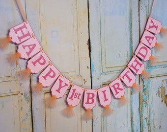 Happy 1st Birthday Banner, Pink and Orange Birthday Decoration, Girls 1st Birthday Party, Girl's First Birthday Banner, Rainbow Birthday
