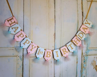 Happy 1st Birthday Banner, Embossed Aqua Pink and Gold Banner with Tulle, Girls First Birthday Banner, Pink Gold Birthday Decorations