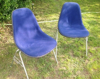 Pair vintage Herman Miller Side Shell Chairs Mid Century Blue Eames era modern