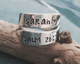Hand Stamped, Wrap Ring, Couples Gift, Personalized Jewelry, Hand Stamped Jewelry, Personalized Ring, Gifts for her, Custom Name Ring