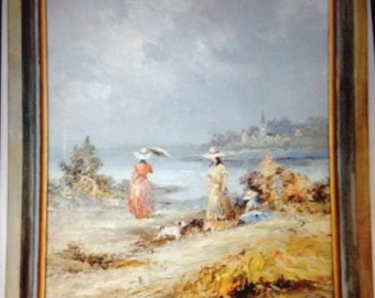 Post Impressionism Oil on Canvas Painting Ladies by the Bay Signed M Charlot