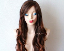 Ombre wig. Brown / Auburn ombre wig. Long wavy hairstyle wig. Ombre brown color wig. Durable fashion wig for daily use or Cosplay.