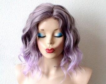 Pastel Lavender wig. Short  beach waves hairstyle wig. Lavender short curly hairstyle long side bangs wig. Light purple hair wig.